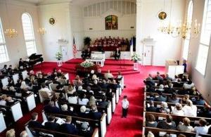 An AP photo taken during Byrd's funeral, yesterday.